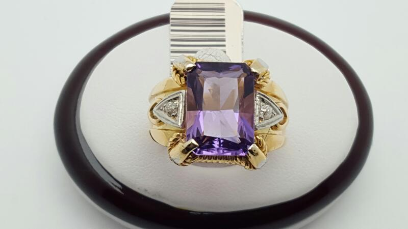 Gent's Amethyst & Diamond Ring 2 Diamonds .06 Carat T.W. 14K Yellow Gold