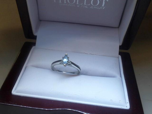Blue Stone Lady's Stone Ring 10K White Gold 1.8g