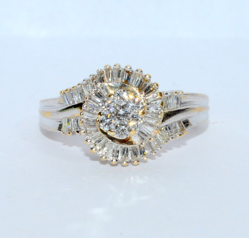 14K Two Tone Gold Diamond Cluster & Baquette Swirl Ring Size: 6