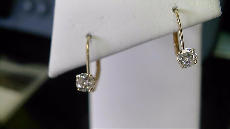lady's 14k yellow gold 1/2cttw round diamond leverback earrings