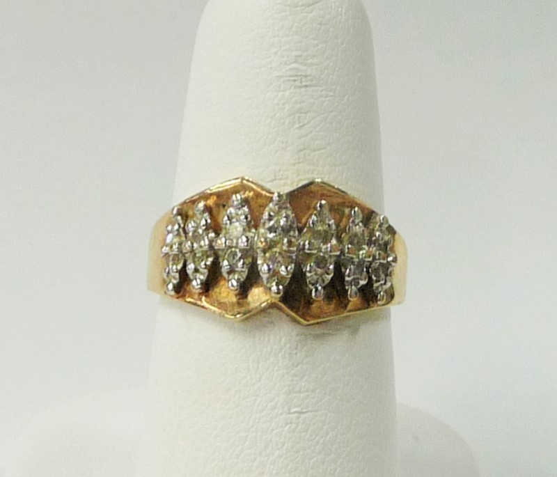 Lady's Diamond Fashion Ring 14 Diamonds .28 Carat T.W. 10K Yellow Gold 2.34dwt