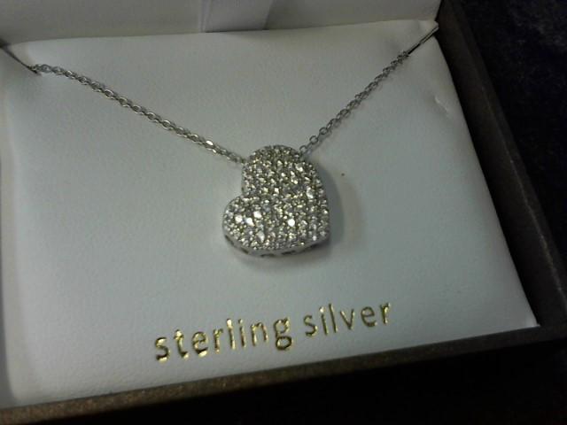 Cubic Zirconia Silver-Stone Pendant 925 Silver 2.6g