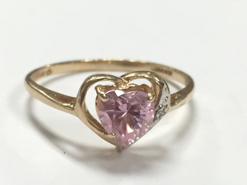 10K HEART SHAPED PINK SAPPHIRE YELLOW GOLD RING Size:7.75