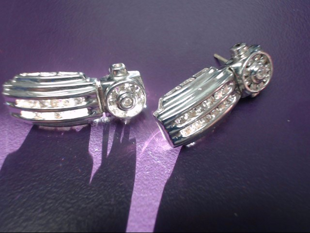 Gold-Diamond Earrings 44 Diamonds .44 Carat T.W. 14K White Gold 6.88g