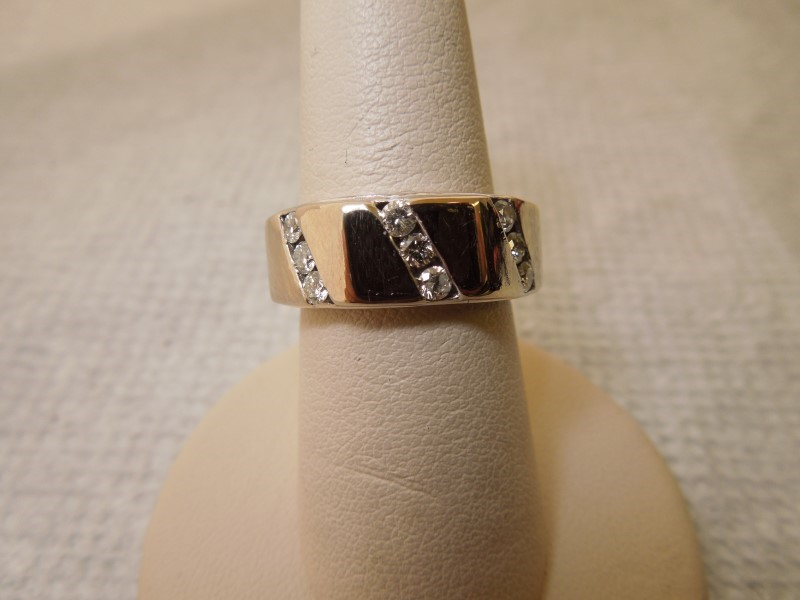 Gent's Diamond Fashion Ring 9 Diamonds .45 Carat T.W. 14K White Gold 9.5g