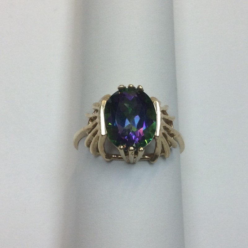 Synthetic Alexandrite Lady's Stone Ring 10K Yellow Gold 2.2dwt Size:7.8