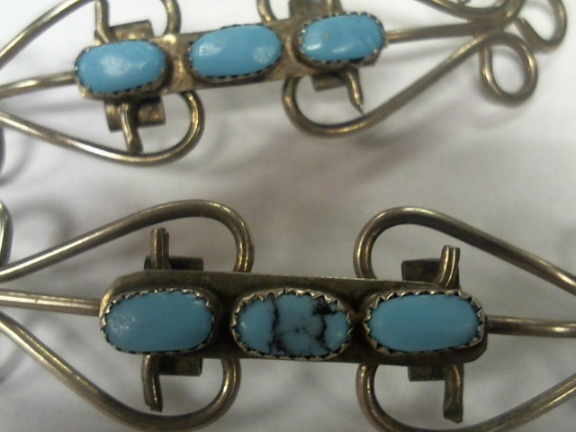 NATIVE AMERICAN JEWELRY SILVER/TURQUOISE HAIR BARRETTE