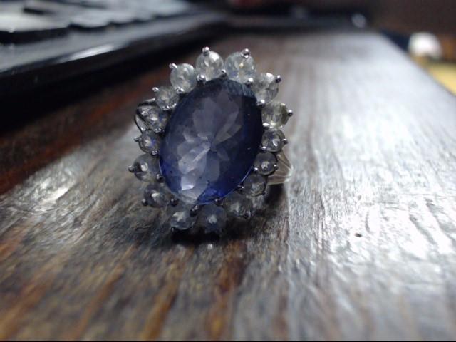 Purple Stone Lady's Stone Ring 10K White Gold 4.7g Size:8