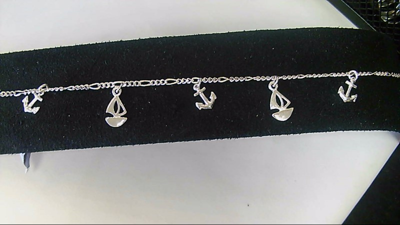 NEW SS BOAT & ANCHOR 9`` ANKLE BRACELET