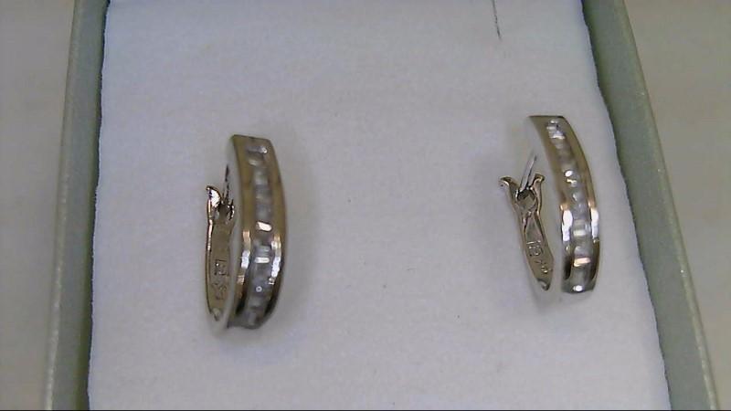 Gold-Diamond Earrings 30 Diamonds .30 Carat T.W. 14K White Gold 2.5g