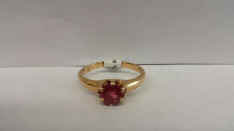 14k Yellow Gold Ring with a Pink Stone