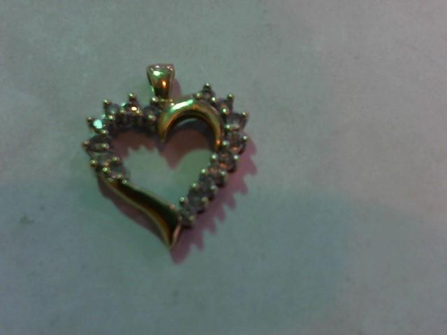 Gold-Multi-Diamond Pendant 15 Diamonds .30 Carat T.W. 10K Yellow Gold 1.5g