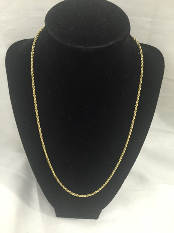 "20"" Gold Rope Chain 14K Yellow Gold 7.1dwt"