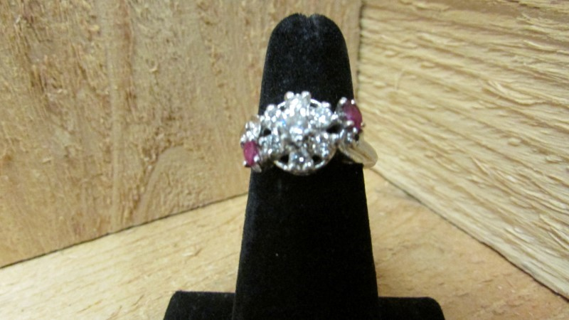 Red Stone Lady's Stone & Diamond Ring 7 Diamonds .75 Carat T.W. 14K White Gold