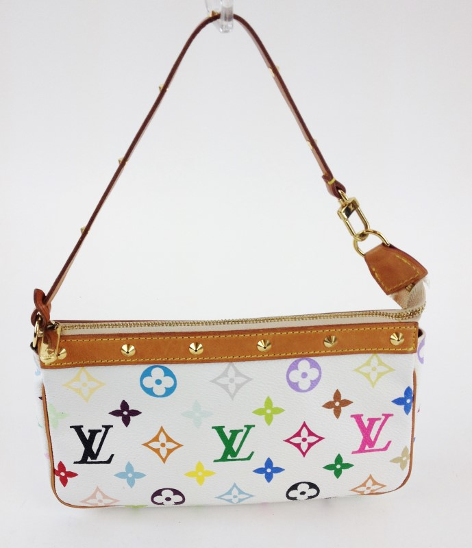 LOUIS VUITTON WHITE MURAKAMI POCHETTE