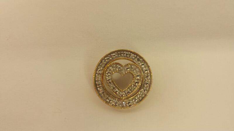 10K YG 12- Round Diamond Heart Pendant 1.2dwt .12Cttw