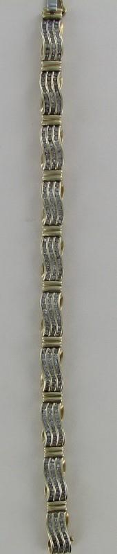 Gold-Diamond Bracelet 240 Diamonds 2.40 Carat T.W. 10K 2 Tone Gold 11.9dwt