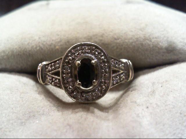 Sapphire Lady's Stone & Diamond Ring 10 Diamonds .050 Carat T.W. 10K White Gold