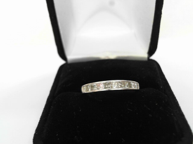 Lady's Diamond Wedding Band 10 Diamonds 1.00 Carat T.W. 14K White Gold 2dwt