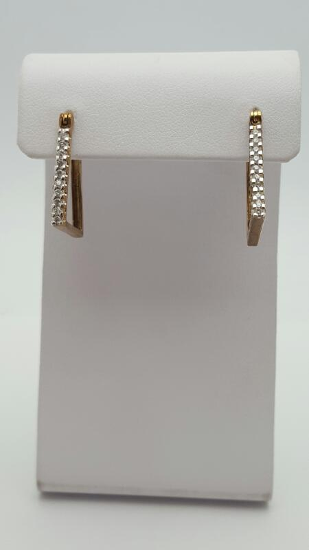 Gold-Diamond Earrings 10 Diamonds .10 Carat T.W. 10K Yellow Gold 2.4g