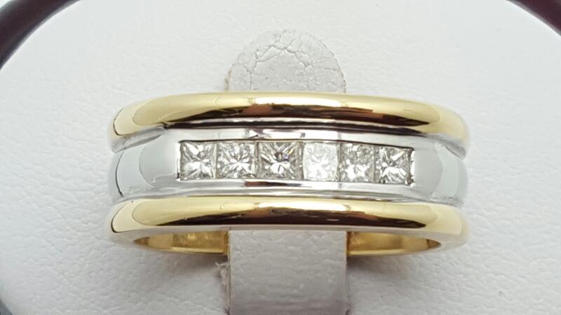Gent's Gold-Diamond Wedding Band 6 Diamonds .66 Carat T.W. 14K 2 Tone Gold 13g