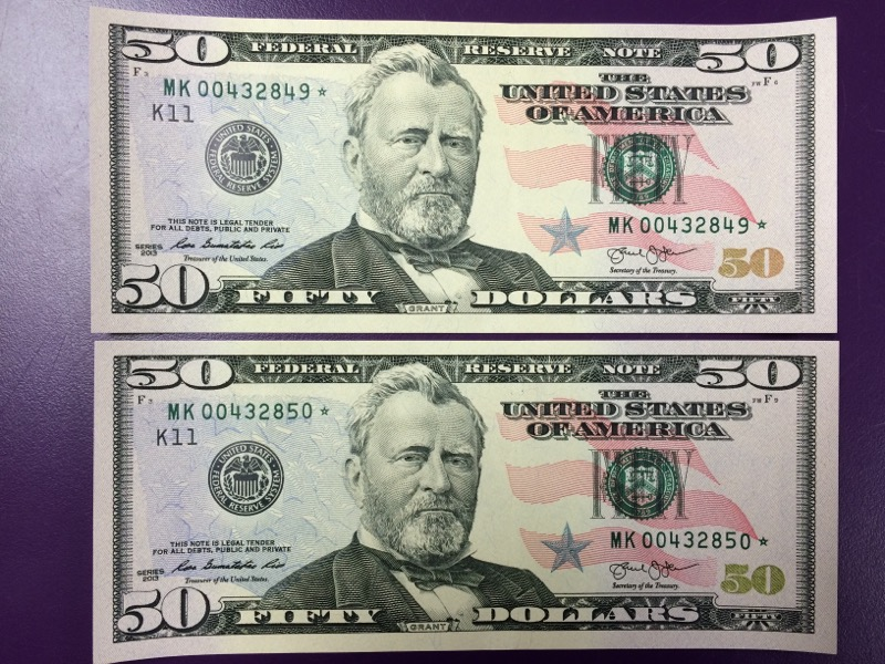 Fifty Dollar ($50.00) - Federal Reserve Star Notes (2) - SEQUENTIAL!