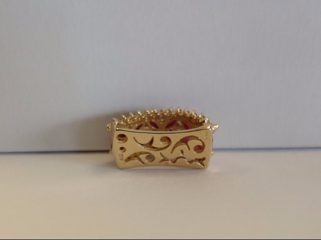 Ruby Gold-Diamond & Stone Pendant 34 Diamonds .42 Carat T.W. 14K Yellow Gold