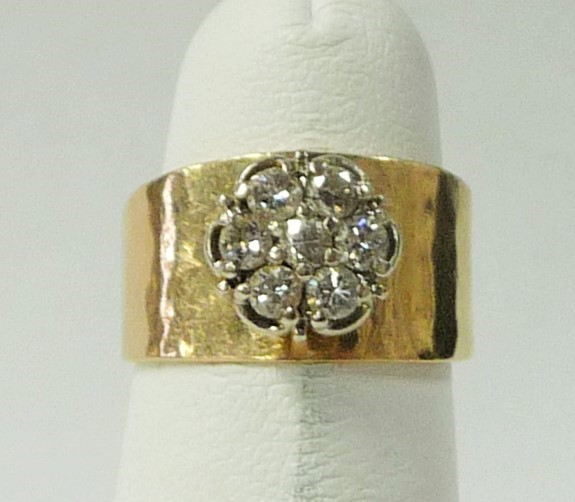 Lady's Diamond Cluster Ring 7 Diamonds .77 Carat T.W. 10K Yellow Gold 3.33dwt
