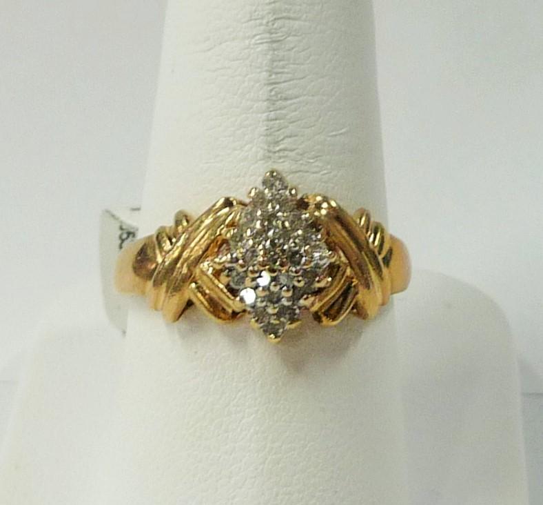 Lady's Diamond Cluster Ring 23 Diamonds .46 Carat T.W. 10K Yellow Gold 1.81dwt