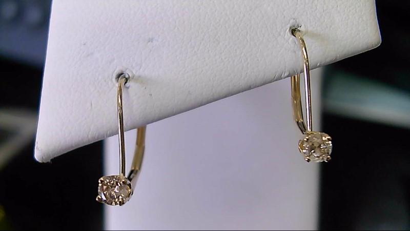 lady's 14k yellow gold 1/5cttw rd diamon lever back earrings