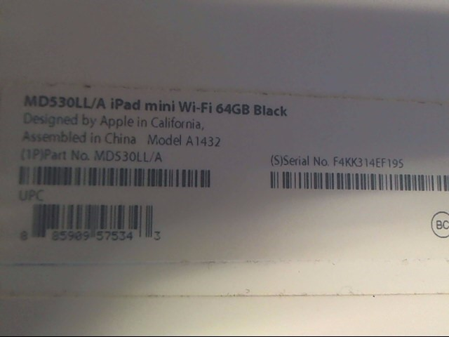 APPLE Tablet IPAD MINI MD530LL/A