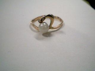 Synthetic Pearl Lady's Stone & Diamond Ring 2 Diamonds .02 Carat T.W.