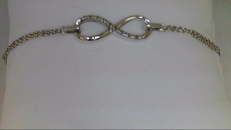 Silver-Diamond Bracelet 5 Diamonds .05 Carat T.W. 925 Silver 2.7g