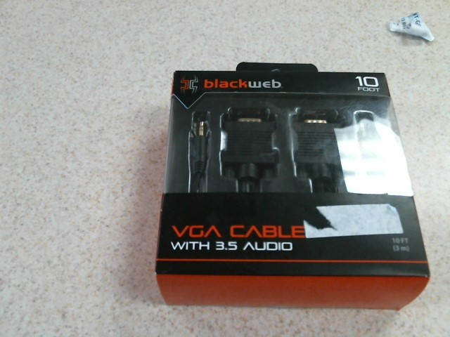 BLACKWEB Computer Component 10FT VGA CABLE 3.5 AUDIO