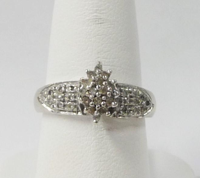Lady's Diamond Cluster Ring 34 Diamonds .68 Carat T.W. 10K White Gold 1.61dwt