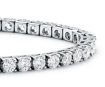 Gold-Diamond Bracelet 15 Diamonds .90 Carat T.W. 14K White Gold 10dwt