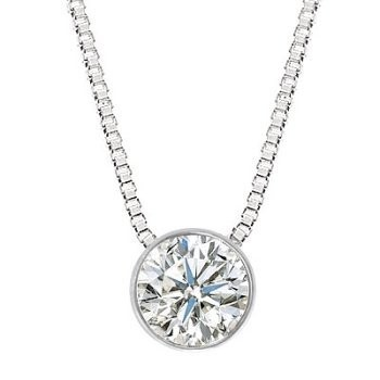 Gold-Diamond Solitaire Pendant .10 CT. 10K White Gold 2g
