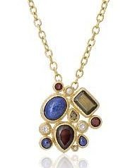 Synthetic Sapphire Gold-Stone Pendant 14K Yellow Gold 0.3dwt