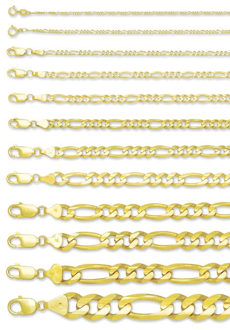 "24"" Gold Figaro Chain 14K Yellow Gold 5.5dwt"
