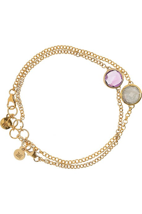 Purple Stone Gold-Stone Bracelet 10K Yellow Gold 5.6dwt