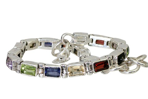 Synthetic Cubic Zirconia Silver-Stone Bracelet 925 Silver 30.6g