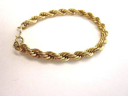 Gold Rope Bracelet 10K Yellow Gold 1.9dwt