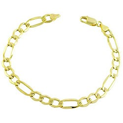 Gold Figaro Bracelet 14K Yellow Gold 10.9dwt