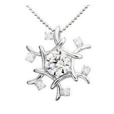Silver-Diamond Pendant 25 Diamonds .25 Carat T.W. 925 Silver 2.6g