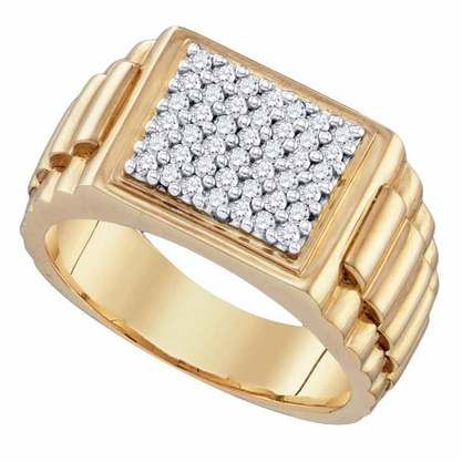 Gent's Diamond Fashion Ring 3 Diamonds .38 Carat T.W. 14K Yellow Gold 5.8g
