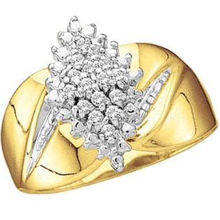 Lady's Diamond Cluster Ring 20 Diamonds .100 Carat T.W. 10K Yellow Gold 4.2g