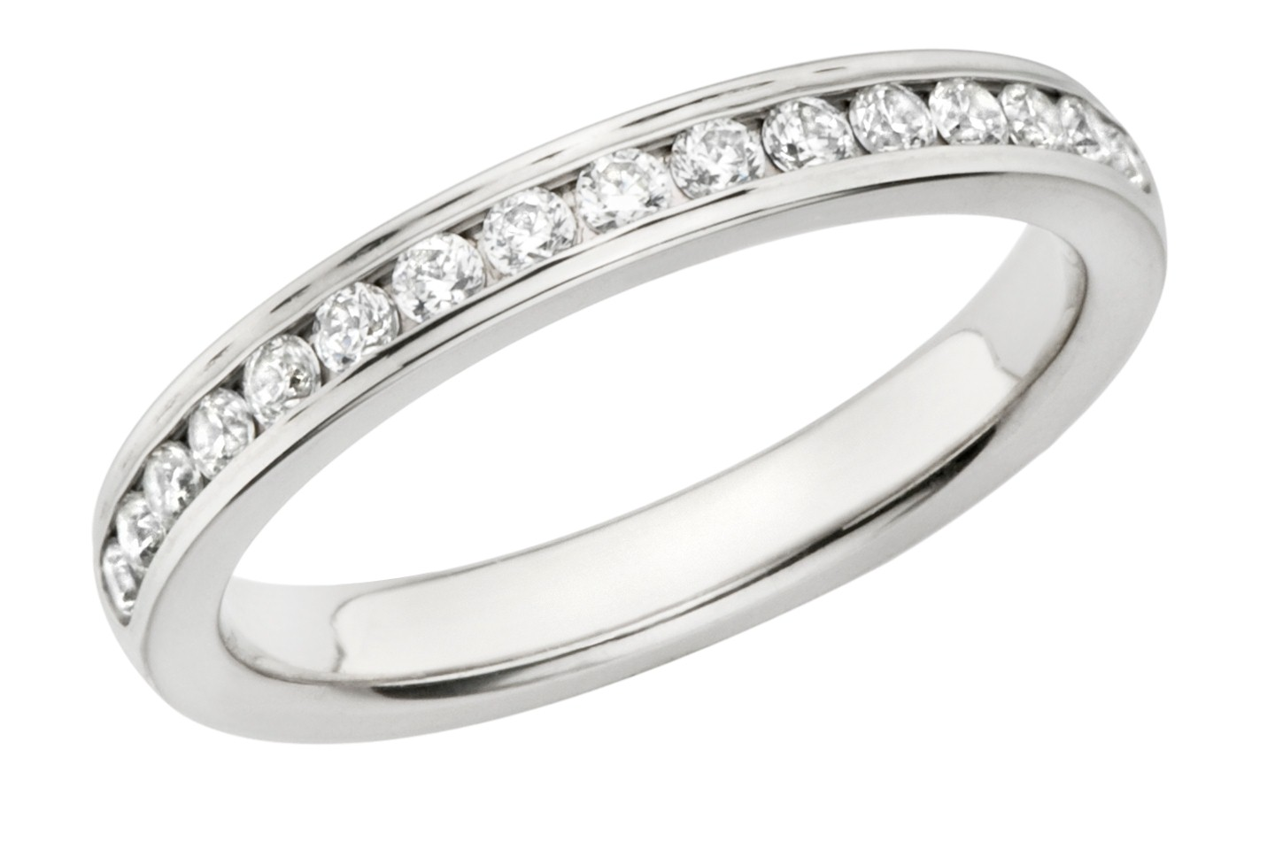 Lady's Diamond Wedding Band 12 Diamonds .24 Carat T.W. 14K White Gold 2.4g