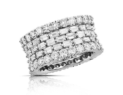 Lady's Platinum-Diamond Anniversary Ring 9 Diamonds .49 Carat T.W. 950 Platinum