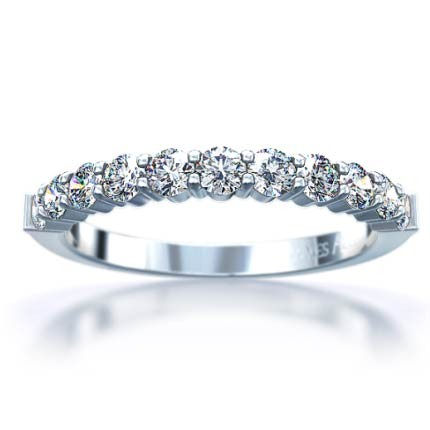Lady's Platinum-Diamond Wedding Band 11 Diamonds .11 Carat T.W. 950 Platinum