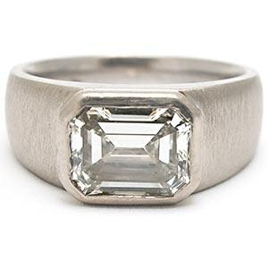 Gent's Diamond Solitaire Ring .50 CT. 14K White Gold 6.6dwt Size:9